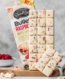 Darrell Lea Has Released Its Very Own White Chocolate Raspberry Bullet Block
